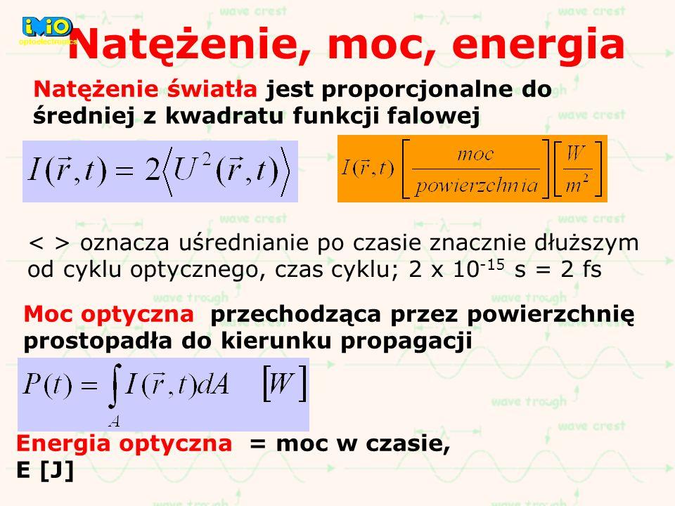 Natężenie, moc, energia Natężenie światła jest proporcjonalne do średniej z kwadratu funkcji falowej oznacza uśrednianie po czasie znacznie dłuższym o