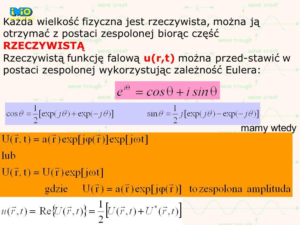 Każda wielkość fizyczna jest rzeczywista, można ją otrzymać z postaci zespolonej biorąc część RZECZYWISTĄ Rzeczywistą funkcję falową u(r,t) można prze