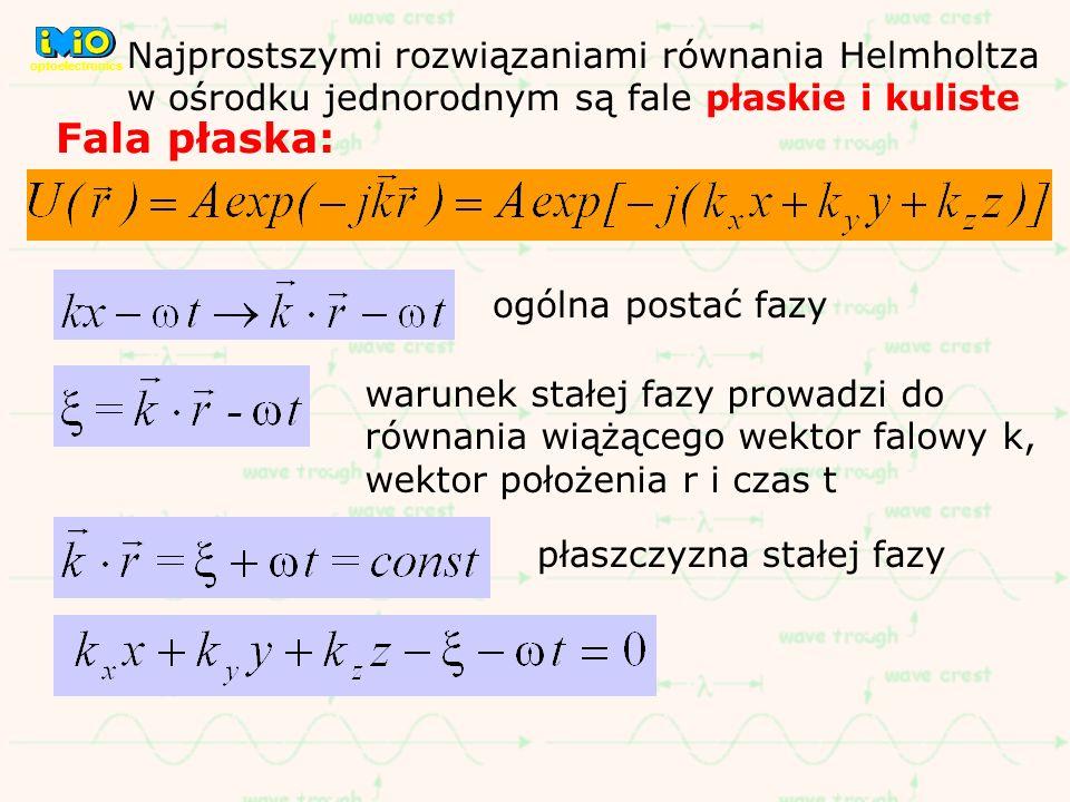 Najprostszymi rozwiązaniami równania Helmholtza w ośrodku jednorodnym są fale płaskie i kuliste Fala płaska: ogólna postać fazy warunek stałej fazy pr