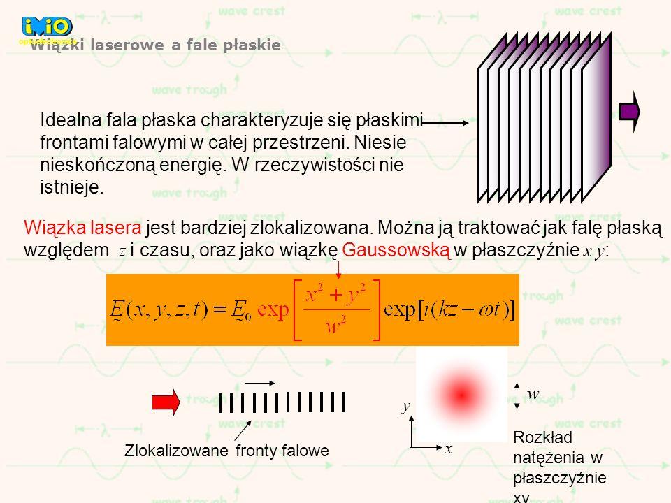 Wiązki laserowe a fale płaskie Idealna fala płaska charakteryzuje się płaskimi frontami falowymi w całej przestrzeni. Niesie nieskończoną energię. W r