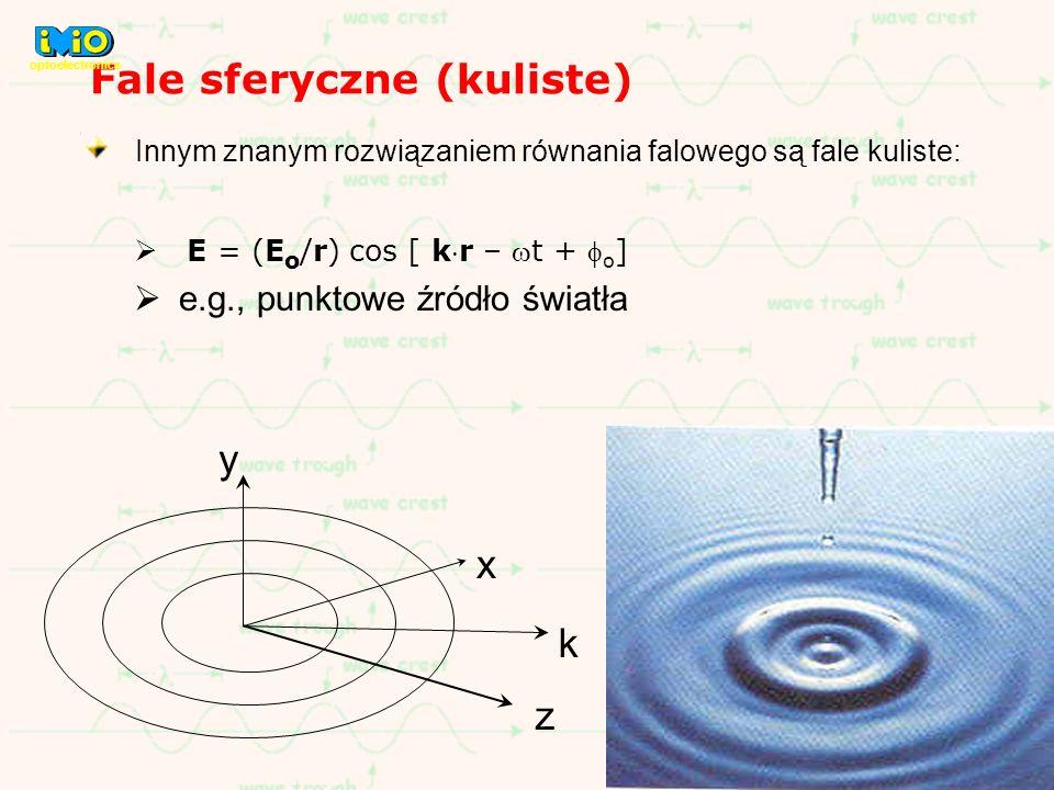 Fale sferyczne (kuliste) Innym znanym rozwiązaniem równania falowego są fale kuliste: E = (E o /r) cos [ kr – t + o ] e.g., punktowe źródło światła y