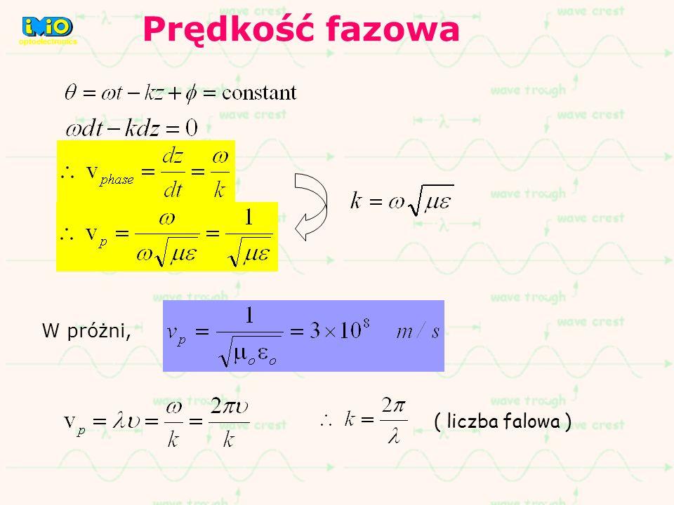 W próżni, ( liczba falowa ) Prędkość fazowa optoelectronics
