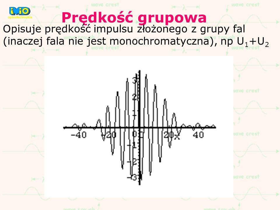 Prędkość grupowa Opisuje prędkość impulsu złożonego z grupy fal (inaczej fala nie jest monochromatyczna), np U 1 +U 2 optoelectronics