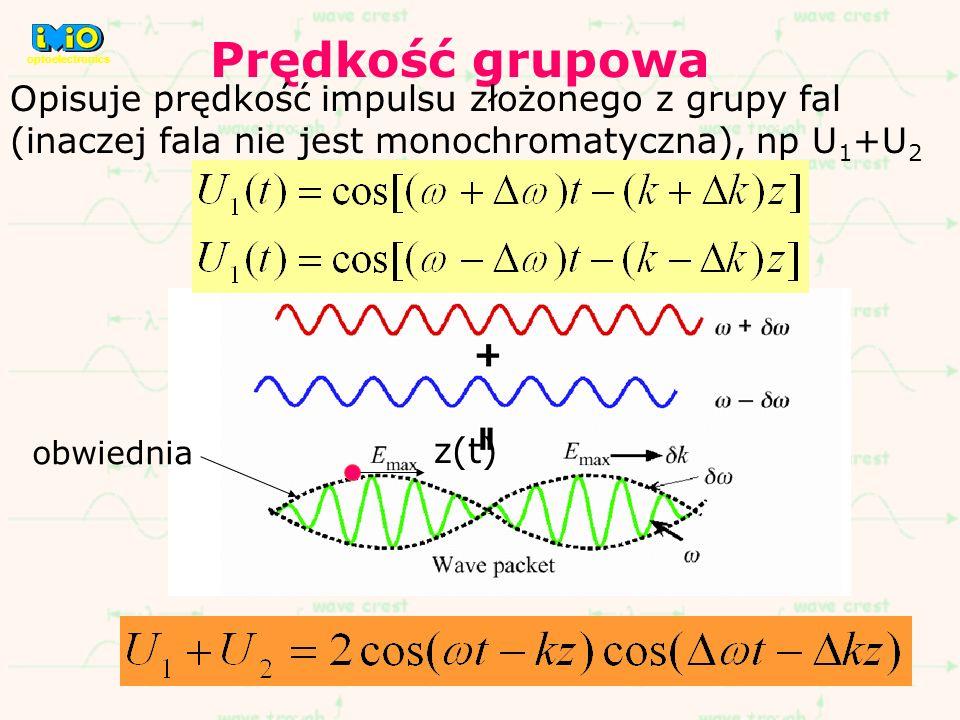 Prędkość grupowa Opisuje prędkość impulsu złożonego z grupy fal (inaczej fala nie jest monochromatyczna), np U 1 +U 2 obwiednia z(t) optoelectronics