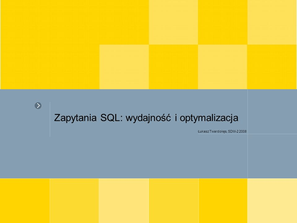 Zapytania SQL: wydajność i optymalizacja Łukasz Twardokęs, Politechnika Warszawska 12 Zapytania – wykorzystanie indeksów (3) wykorzystanie w warunku porównania operatorów: NOT, !=, <> blokuje korzystanie z indeksu Efektywniej na indeksowanej kolumnie wykonywane jest porównanie >=, niż > Zastosowanie wzorca w klauzuli LIKE, zawierającego na początku znak specjalny % lub _ blokuje wykorzystanie indeksu SELECT p.nazwa, p.cena FROM produkt p WHERE p.nazwa LIKE %orzechy%
