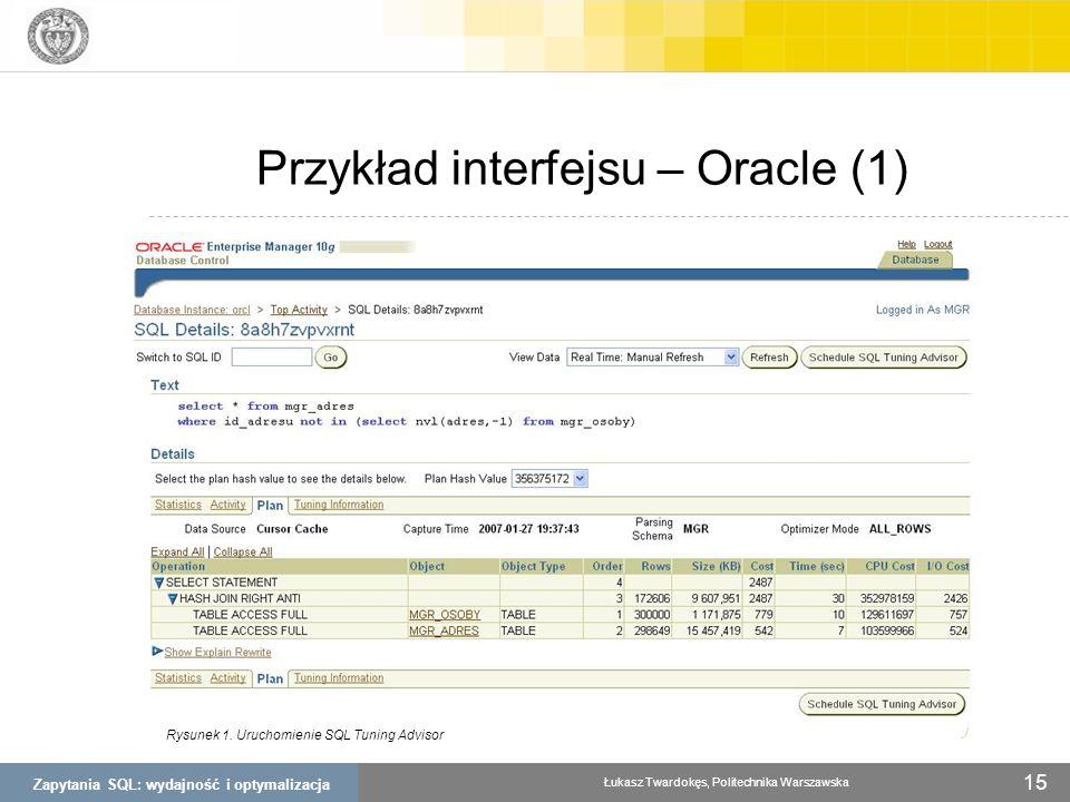 Zapytania SQL: wydajność i optymalizacja Łukasz Twardokęs, Politechnika Warszawska 15 Przykład interfejsu – Oracle (1) Rysunek 1. Uruchomienie SQL Tun