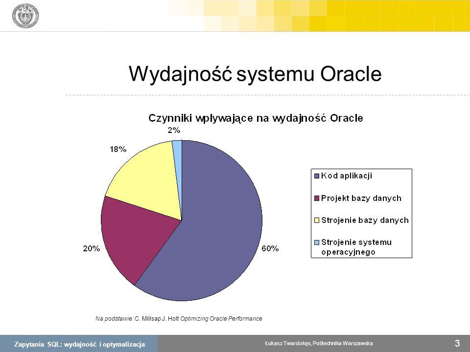 Zapytania SQL: wydajność i optymalizacja Łukasz Twardokęs, Politechnika Warszawska 3 Wydajność systemu Oracle Na podstawie: C. Millsap J. Holt Optimiz