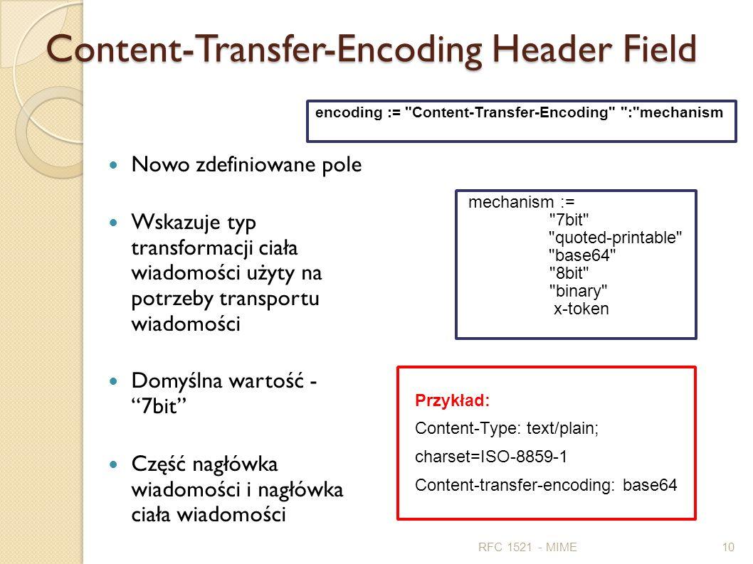 Content-Transfer-Encoding Header Field Nowo zdefiniowane pole Wskazuje typ transformacji ciała wiadomości użyty na potrzeby transportu wiadomości Domy