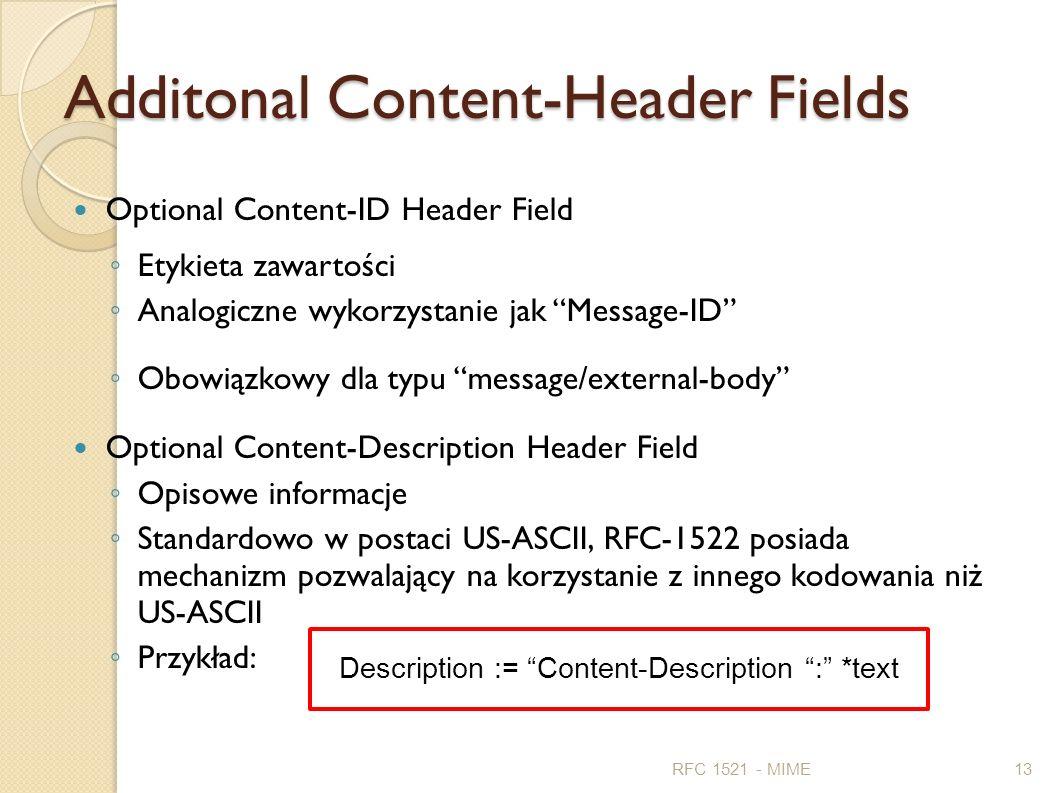 Additonal Content-Header Fields Optional Content-ID Header Field Etykieta zawartości Analogiczne wykorzystanie jak Message-ID Obowiązkowy dla typu mes