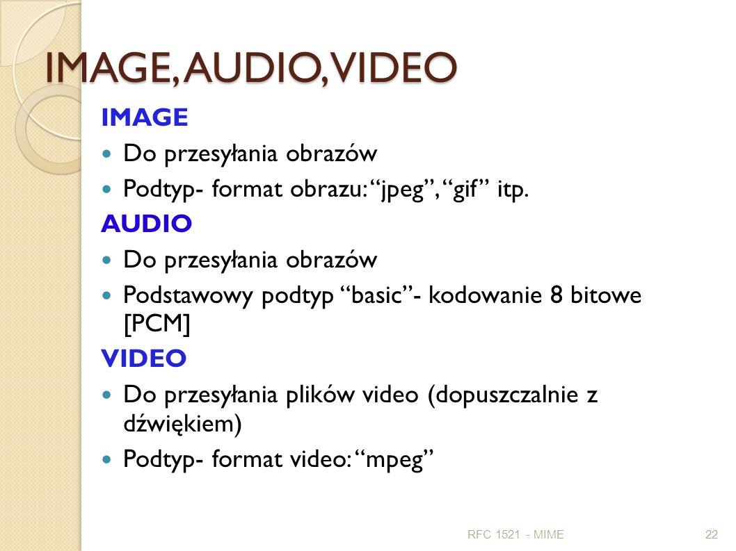 IMAGE, AUDIO, VIDEO IMAGE Do przesyłania obrazów Podtyp- format obrazu: jpeg, gif itp. AUDIO Do przesyłania obrazów Podstawowy podtyp basic- kodowanie