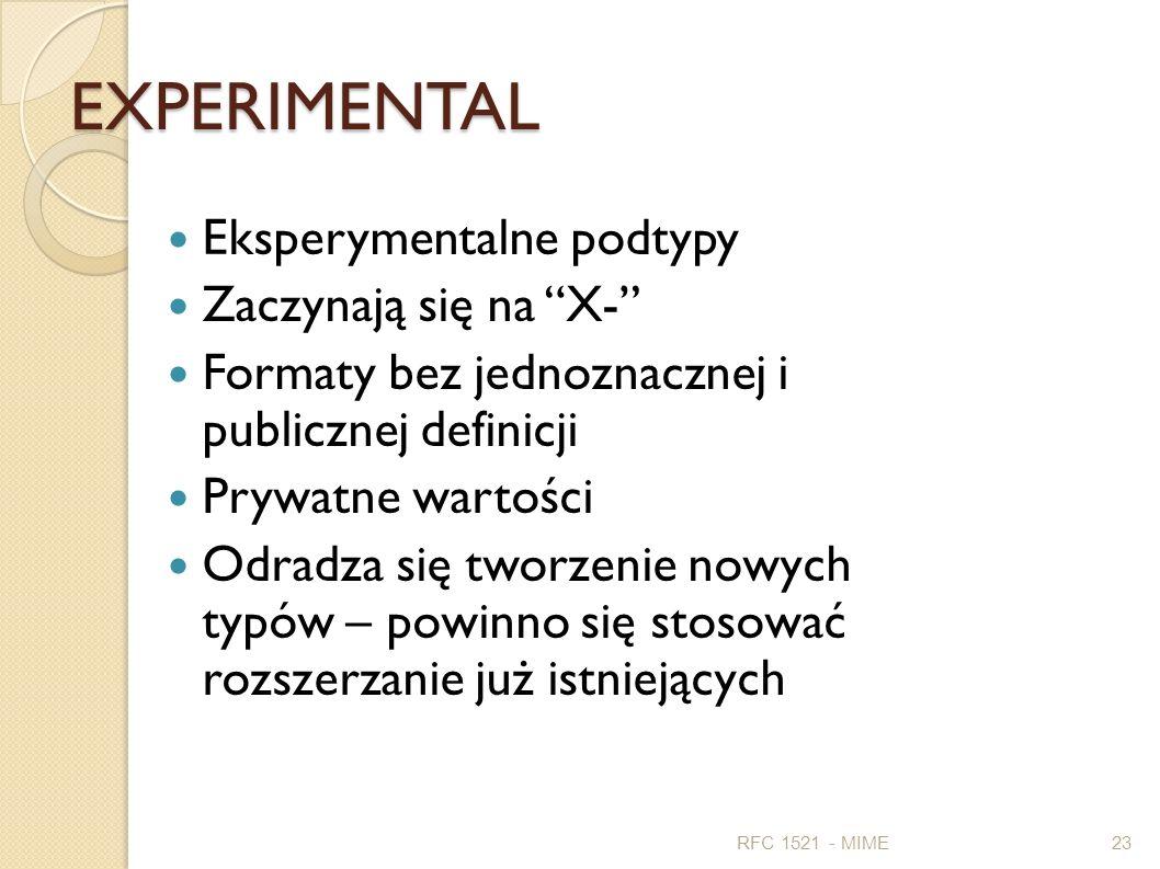 EXPERIMENTAL Eksperymentalne podtypy Zaczynają się na X- Formaty bez jednoznacznej i publicznej definicji Prywatne wartości Odradza się tworzenie nowy