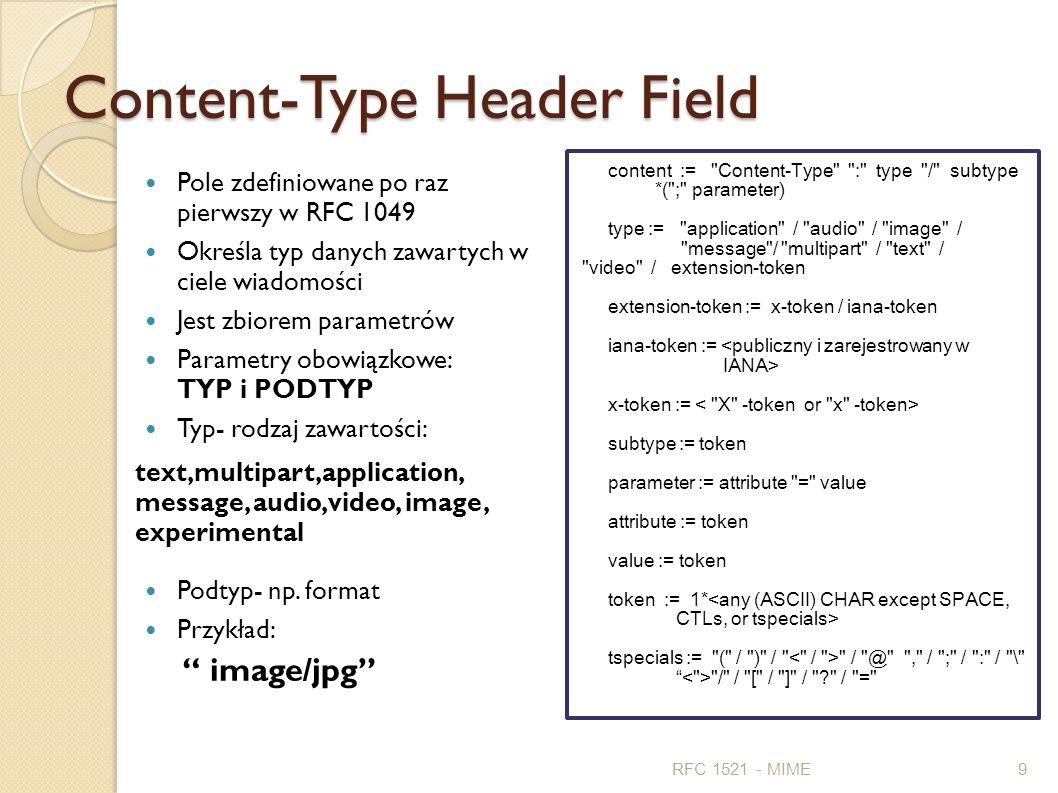 Content-Type Header Field Pole zdefiniowane po raz pierwszy w RFC 1049 Określa typ danych zawartych w ciele wiadomości Jest zbiorem parametrów Paramet