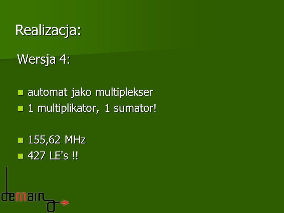 Wersja 4: automat jako multiplekser automat jako multiplekser 1 multiplikator, 1 sumator! 1 multiplikator, 1 sumator! 155,62 MHz 155,62 MHz 427 LE's !