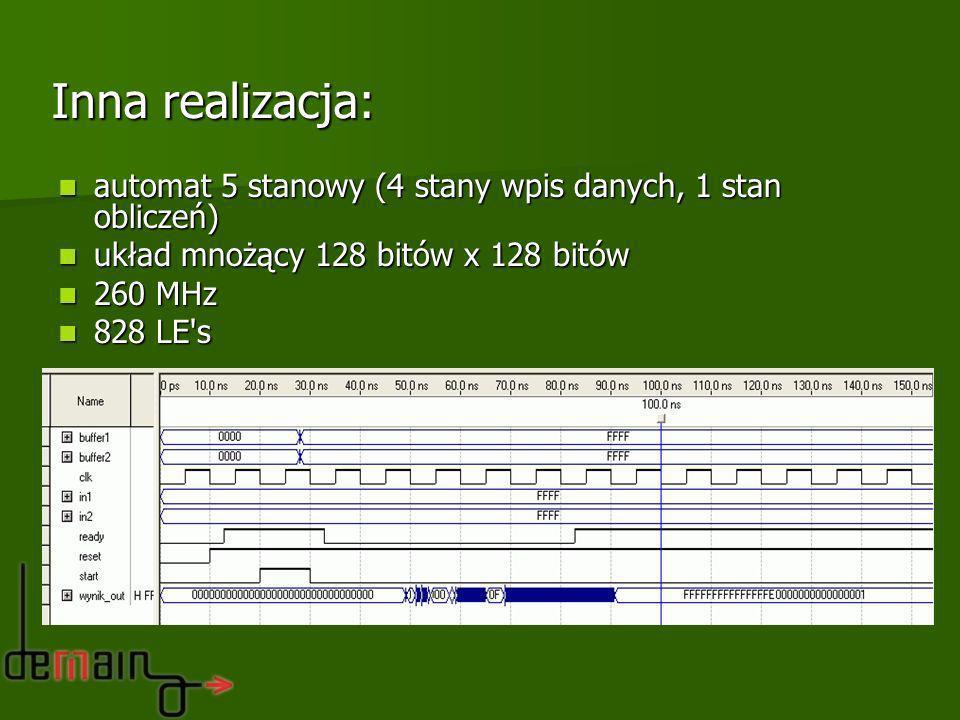 automat 5 stanowy (4 stany wpis danych, 1 stan obliczeń) automat 5 stanowy (4 stany wpis danych, 1 stan obliczeń) układ mnożący 128 bitów x 128 bitów
