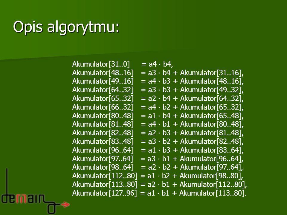 Akumulator[31..0] = a4 b4, Akumulator[48..16] = a3 b4 + Akumulator[31..16], Akumulator[49..16] = a4 b3 + Akumulator[48..16], Akumulator[64..32] = a3 b