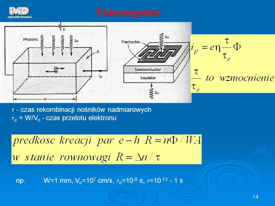 14 optoelectronics Fotorezystor - czas rekombinacji nośników nadmiarowych e = W/V e - czas przelotu elektronu np.W=1 mm, V e =10 7 cm/s, e =10 -8 s, =