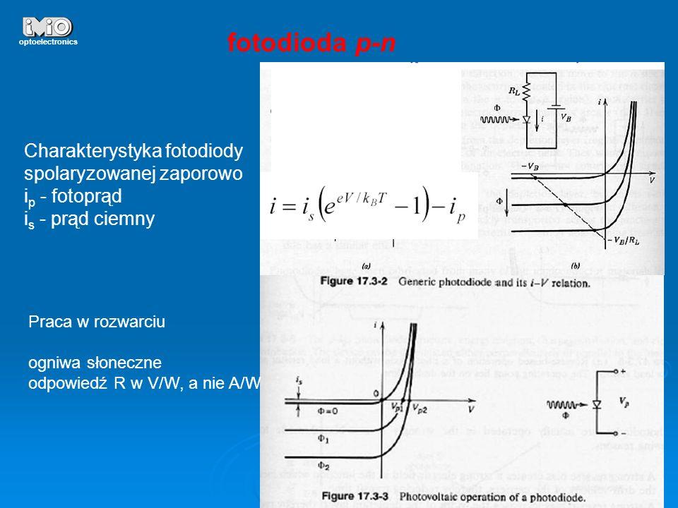 19 optoelectronics fotodioda p-n Charakterystyka fotodiody spolaryzowanej zaporowo i p - fotoprąd i s - prąd ciemny Praca w rozwarciu ogniwa słoneczne