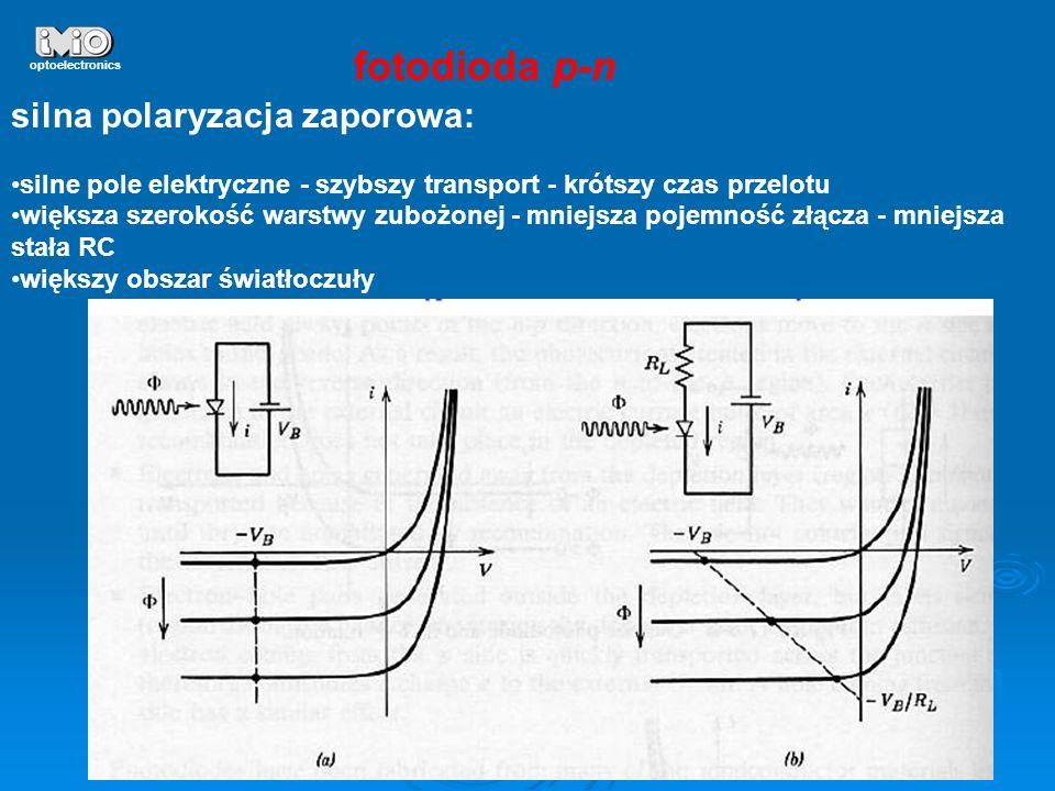 21 optoelectronics fotodioda p-n silna polaryzacja zaporowa: silne pole elektryczne - szybszy transport - krótszy czas przelotu większa szerokość wars