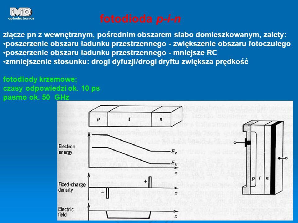 22 optoelectronics fotodioda p-i-n złącze pn z wewnętrznym, pośrednim obszarem słabo domieszkowanym, zalety: poszerzenie obszaru ładunku przestrzenneg