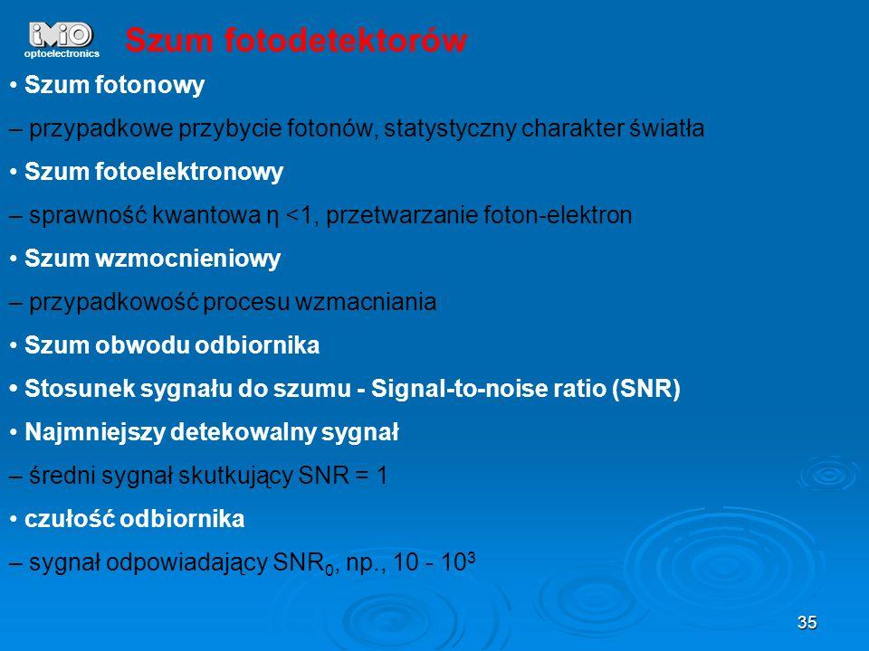 35 optoelectronics Szum fotonowy – przypadkowe przybycie fotonów, statystyczny charakter światła Szum fotoelektronowy – sprawność kwantowa η <1, przet