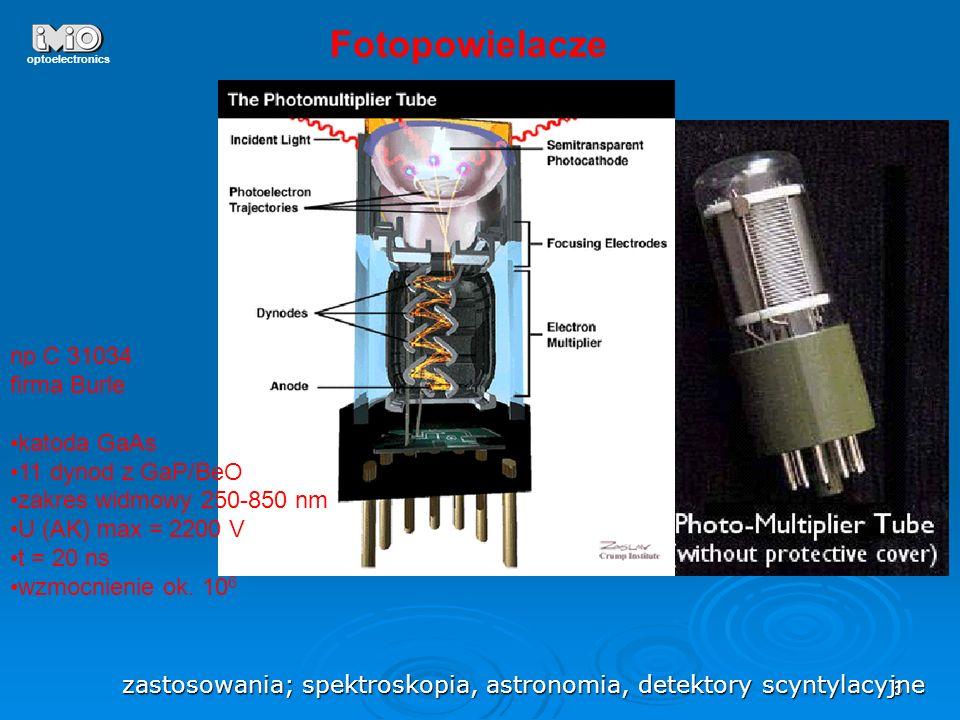 27 optoelectronics fotodiody z barierą Schottkiego, heterozłącze metal-półprzewodnik typ n h >w-x w-x to bariera Scottkiego na granicy metal-półprzewodnik tworzy się warstwa dipolowa ładunku powierzchniowego wtedy warstwa zubożona wąska i blisko powierzchni, ograniczenie rekombinacji powierzchniowej odp - ps, pasmo do 100 GHz Au/nSi PtSi/pSi