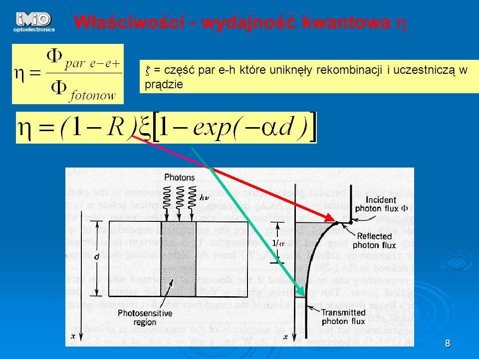 8 optoelectronics Właściwości - wydajność kwantowa η = część par e-h które uniknęły rekombinacji i uczestniczą w prądzie