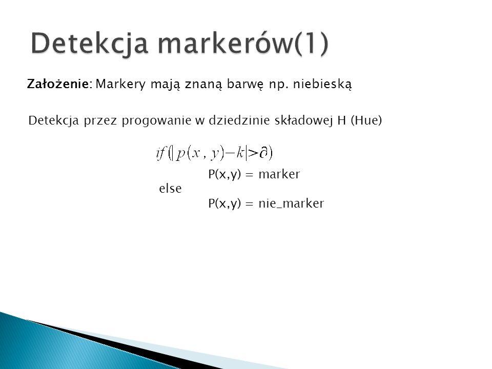 Założenie: Markery mają znaną barwę np. niebieską Detekcja przez progowanie w dziedzinie składowej H (Hue) P(x,y) = marker else P(x,y) = nie_marker