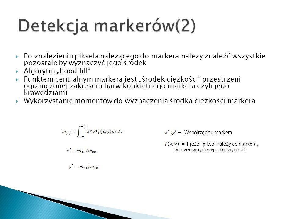 Po znalezieniu piksela należącego do markera należy znaleźć wszystkie pozostałe by wyznaczyć jego środek Algorytm flood fill Punktem centralnym marker