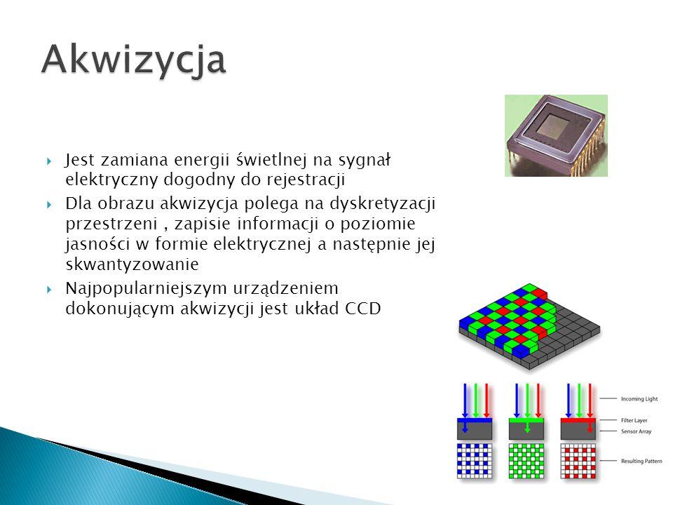 Jest zamiana energii świetlnej na sygnał elektryczny dogodny do rejestracji Dla obrazu akwizycja polega na dyskretyzacji przestrzeni, zapisie informac