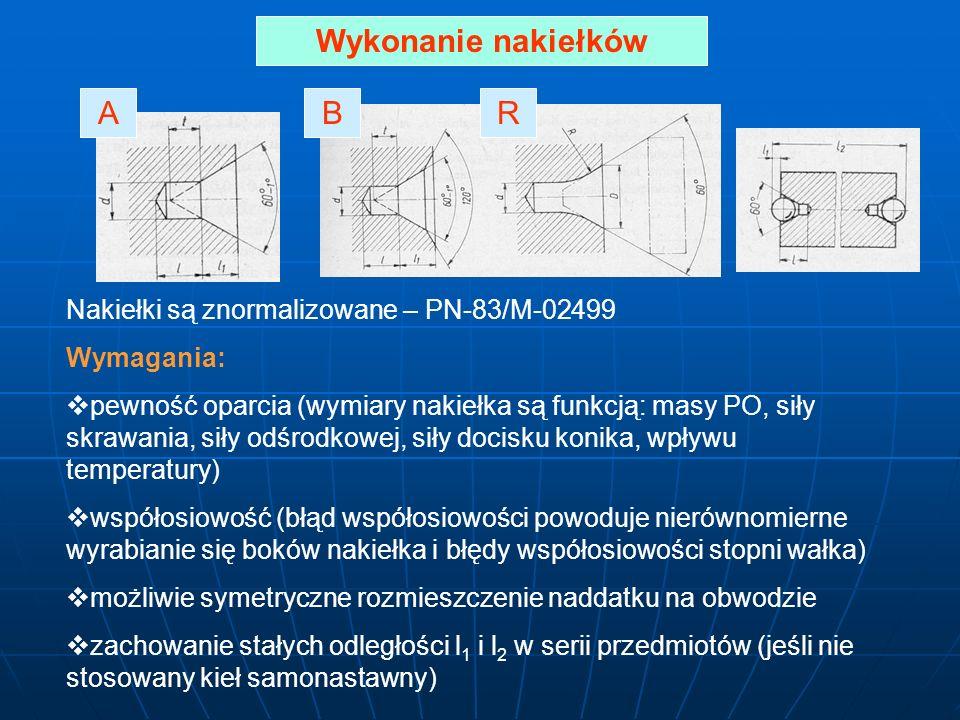 Wykonanie nakiełków Nakiełki są znormalizowane – PN-83/M-02499 Wymagania: pewność oparcia (wymiary nakiełka są funkcją: masy PO, siły skrawania, siły odśrodkowej, siły docisku konika, wpływu temperatury) współosiowość (błąd współosiowości powoduje nierównomierne wyrabianie się boków nakiełka i błędy współosiowości stopni wałka) możliwie symetryczne rozmieszczenie naddatku na obwodzie zachowanie stałych odległości l 1 i l 2 w serii przedmiotów (jeśli nie stosowany kieł samonastawny) ARB