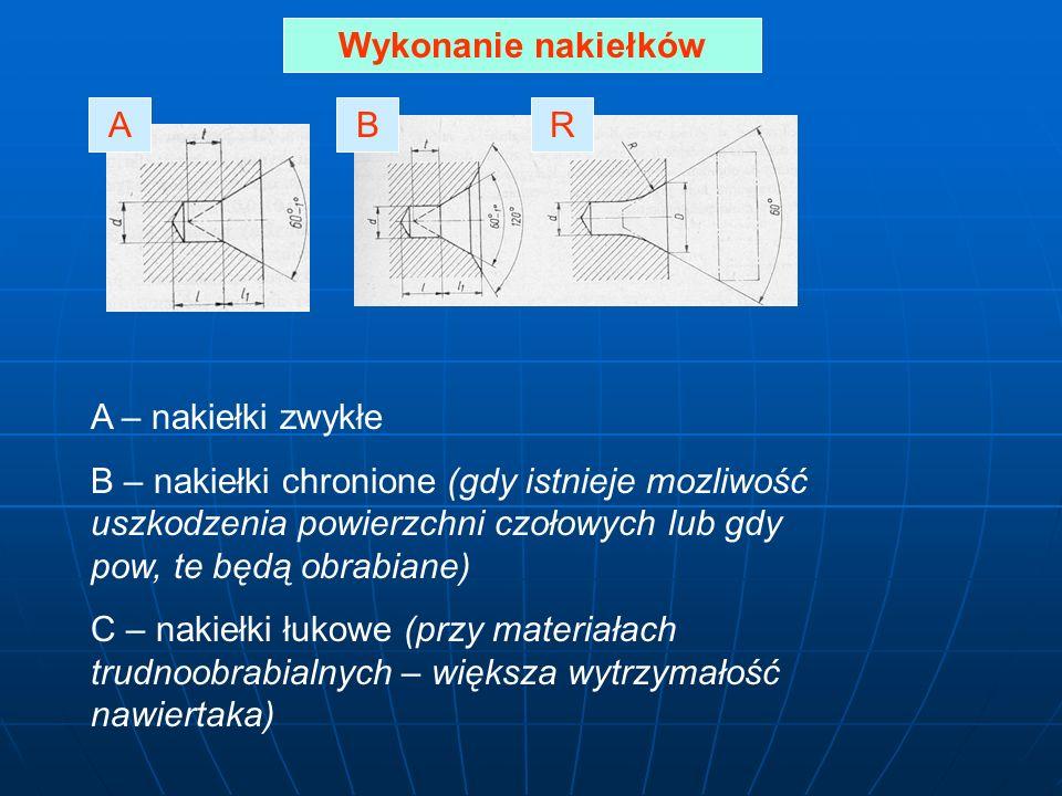 Wykonanie nakiełków ARB A – nakiełki zwykłe B – nakiełki chronione (gdy istnieje mozliwość uszkodzenia powierzchni czołowych lub gdy pow, te będą obrabiane) C – nakiełki łukowe (przy materiałach trudnoobrabialnych – większa wytrzymałość nawiertaka)