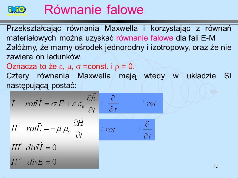 12 Przekształcając równania Maxwella i korzystając z równań materiałowych można uzyskać równanie falowe dla fali E-M Załóżmy, że mamy ośrodek jednorodny i izotropowy, oraz że nie zawiera on ładunków.