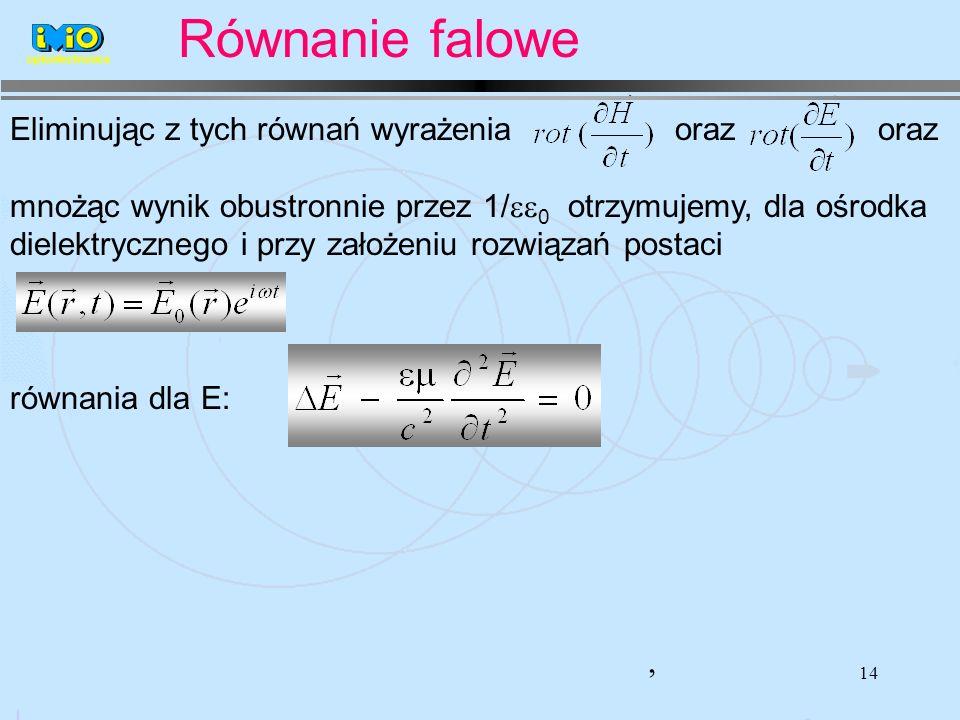 14 Eliminując z tych równań wyrażenia oraz oraz mnożąc wynik obustronnie przez 1/ 0 otrzymujemy, dla ośrodka dielektrycznego i przy założeniu rozwiązań postaci równania dla E:, optoelectronics Równanie falowe