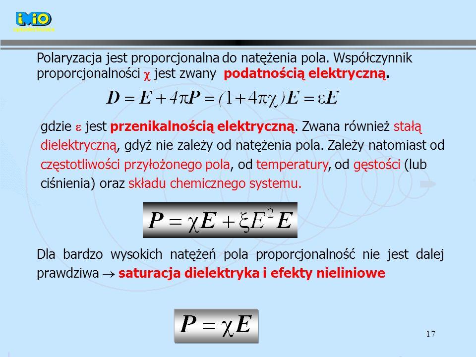 17 Polaryzacja jest proporcjonalna do natężenia pola.