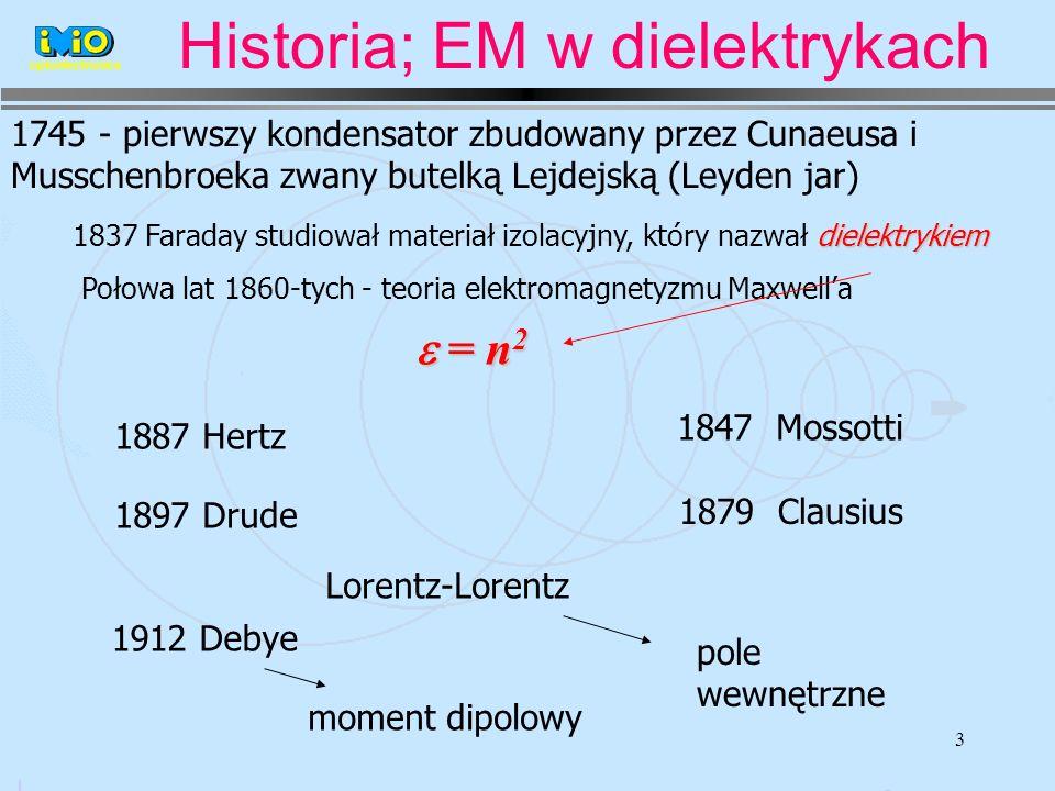3 1745 - pierwszy kondensator zbudowany przez Cunaeusa i Musschenbroeka zwany butelką Lejdejską (Leyden jar) dielektrykiem 1837 Faraday studiował materiał izolacyjny, który nazwał dielektrykiem Połowa lat 1860-tych - teoria elektromagnetyzmu Maxwella = n 2 = n 2 1887 Hertz 1897 Drude 1847 Mossotti 1879 Clausius Lorentz-Lorentz pole wewnętrzne 1912 Debye moment dipolowy optoelectronics Historia; EM w dielektrykach