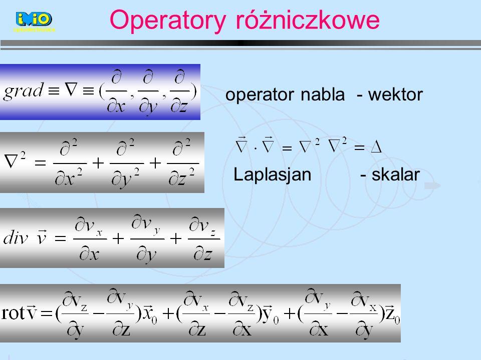 optoelectronics Laplasjan - skalar operator nabla - wektor Operatory różniczkowe