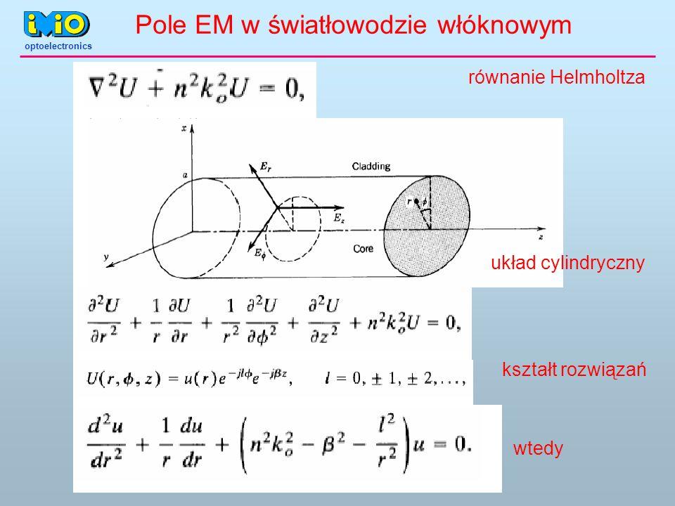 optoelectronics równanie Helmholtza układ cylindryczny kształt rozwiązań wtedy Pole EM w światłowodzie włóknowym