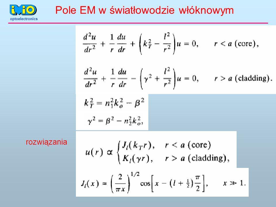 optoelectronics rozwiązania Pole EM w światłowodzie włóknowym