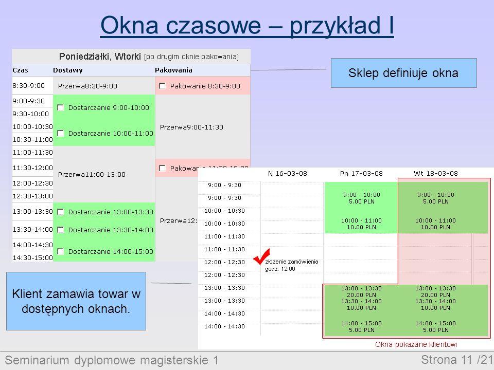 Seminarium dyplomowe magisterskie 1 Strona 11 /21 Okna czasowe – przykład I Sklep definiuje okna Klient zamawia towar w dostępnych oknach.