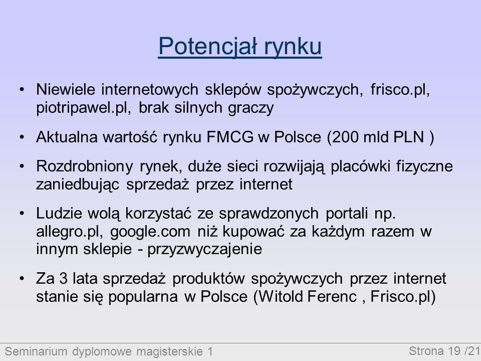 Seminarium dyplomowe magisterskie 1 Strona 19 /21 Potencjał rynku Niewiele internetowych sklepów spożywczych, frisco.pl, piotripawel.pl, brak silnych