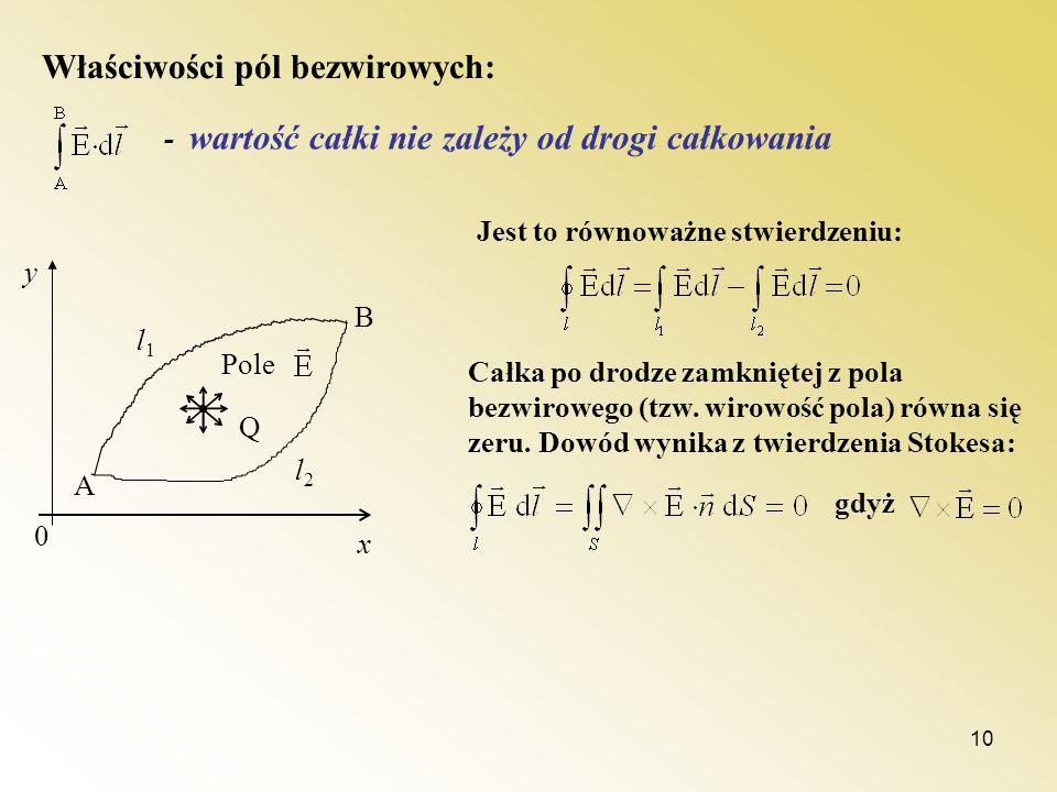 10 Właściwości pól bezwirowych: - wartość całki nie zależy od drogi całkowania Q l1l1 l2l2 Pole A B 0 y x Jest to równoważne stwierdzeniu: Całka po dr