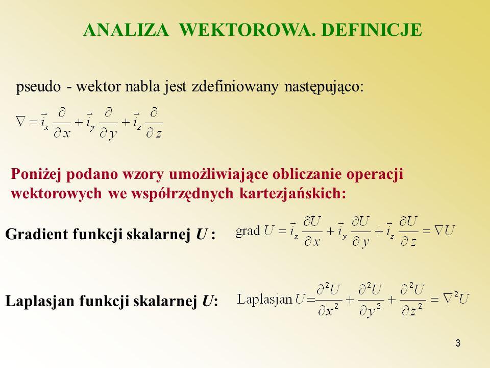 3 ANALIZA WEKTOROWA. DEFINICJE pseudo - wektor nabla jest zdefiniowany następująco: Poniżej podano wzory umożliwiające obliczanie operacji wektorowych