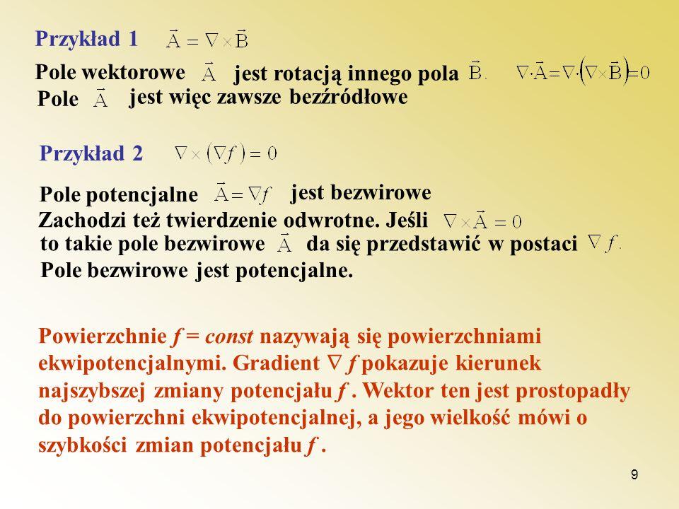 10 Właściwości pól bezwirowych: - wartość całki nie zależy od drogi całkowania Q l1l1 l2l2 Pole A B 0 y x Jest to równoważne stwierdzeniu: Całka po drodze zamkniętej z pola bezwirowego (tzw.
