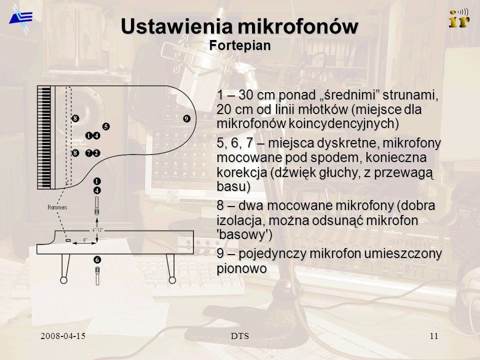 2008-04-15DTS11 Ustawienia mikrofonów Fortepian 1 – 30 cm ponad średnimi strunami, 20 cm od linii młotków (miejsce dla mikrofonów koincydencyjnych) 5,
