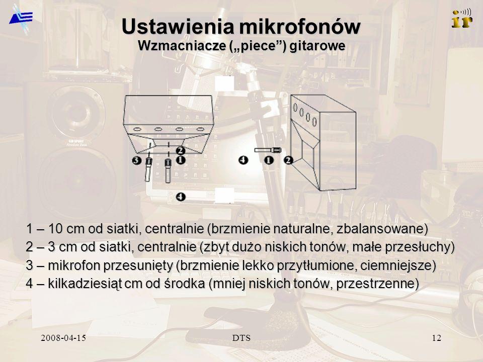 2008-04-15DTS12 Ustawienia mikrofonów Wzmacniacze (piece) gitarowe 1 – 10 cm od siatki, centralnie (brzmienie naturalne, zbalansowane) 2 – 3 cm od sia