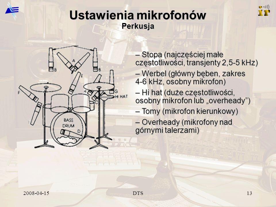 2008-04-15DTS13 Ustawienia mikrofonów Perkusja – Stopa (najczęściej małe częstotliwości, transjenty 2,5-5 kHz) – Werbel (główny bęben, zakres 4-6 kHz,