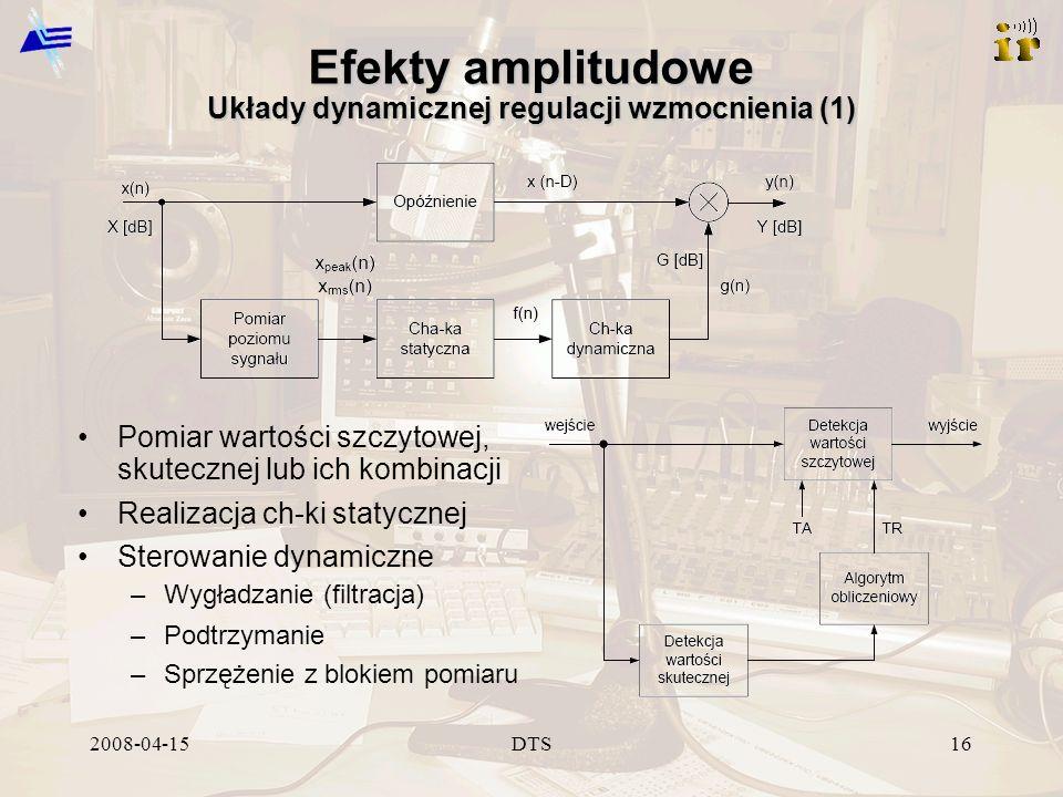 2008-04-15DTS16 Efekty amplitudowe Układy dynamicznej regulacji wzmocnienia (1) Pomiar wartości szczytowej, skutecznej lub ich kombinacji Realizacja ch-ki statycznej Sterowanie dynamiczne –Wygładzanie (filtracja) –Podtrzymanie –Sprzężenie z blokiem pomiaru
