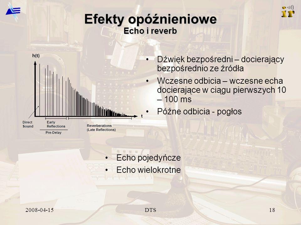 2008-04-15DTS18 Efekty opóźnieniowe Echo i reverb Dźwięk bezpośredni – docierający bezpośrednio ze źródła Wczesne odbicia – wczesne echa docierające w ciągu pierwszych 10 – 100 ms Późne odbicia - pogłos Echo pojedyńcze Echo wielokrotne
