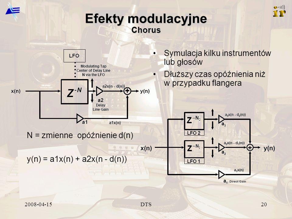 2008-04-15DTS20 Efekty modulacyjne Chorus Symulacja kilku instrumentów lub głosów Dłuższy czas opóźnienia niż w przypadku flangera N = zmienne opóźnienie d(n) y(n) = a1x(n) + a2x(n - d(n))