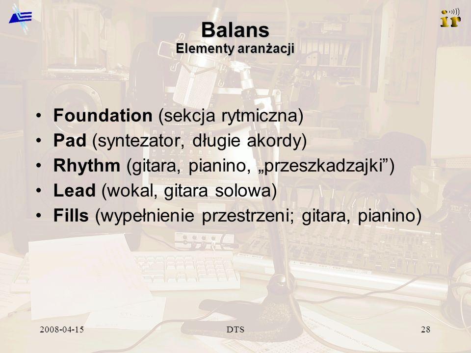 2008-04-15DTS28 Balans Elementy aranżacji Foundation (sekcja rytmiczna) Pad (syntezator, długie akordy) Rhythm (gitara, pianino, przeszkadzajki) Lead (wokal, gitara solowa) Fills (wypełnienie przestrzeni; gitara, pianino)